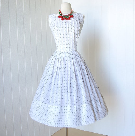 vintage 1950's dress ...make mine a McKETTRICK breezy white gauzy cotton with woven green full skirt pin-up summer sun dress m l