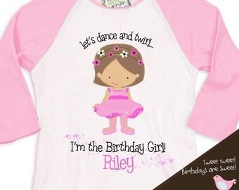ballerina birthday girl shirt ballet / dance theme party tshirt birthday girl  RAGLAN