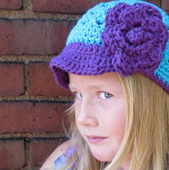 Girls Newsboy  Hat , Turquoise and Purple  News Boy Hat , Flower Hair Clip ,  Girls Crochet Hat ,  Size 5 - 12  years