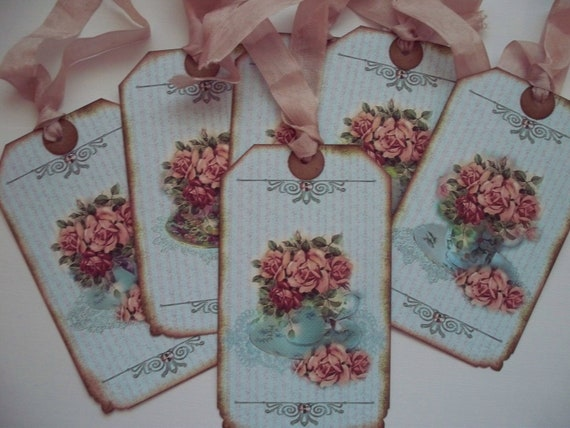 Teacup Tags Vintage Style Tea Time Floral Tags Mauve Roses - Set of 6