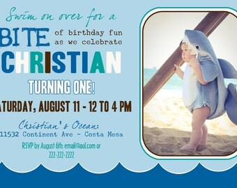 Ocean Birthday Party Invitation - 5x7 DIGITAL FILE