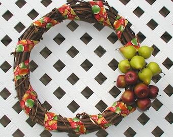 Apple and Pear Wreath - Fall Wreath - Harvest Wreath - Door Wreath - Front Door Wreath - Apple Wreath - Pear Wreath - Autumn Wreath - Wreath
