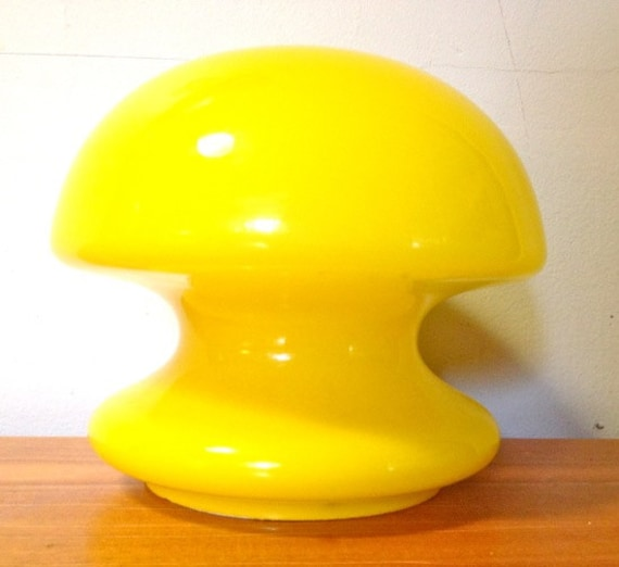 SOLD* Bright Yellow Laurel Glass Mushroom Lamp Mid-Century