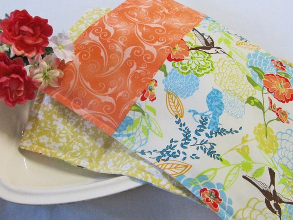Bright Hummingbird Placemats Set of FOUR - Kitchen Table Place Mats Spring Decor Orange Lime Green Blue Brown Yellow Floral