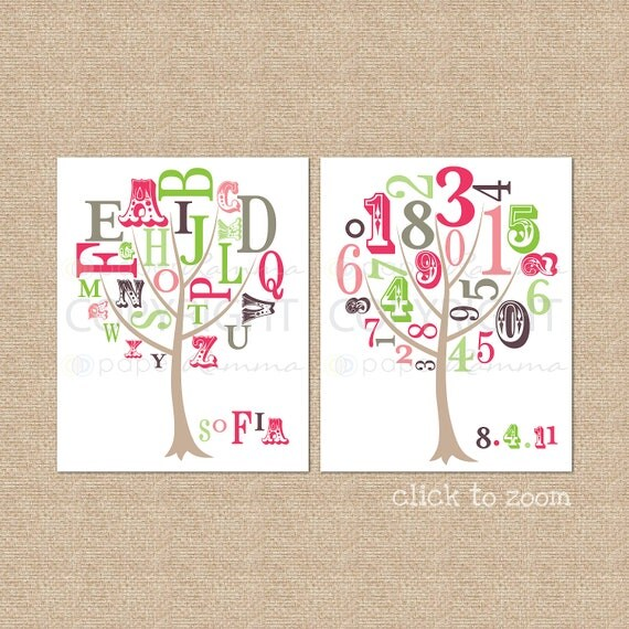 ABC and 123 Tree Prints featuring Name and Birth Date // Nursery / Kids Room Art Prints, Set of 2 // N-G51-2PS AA1