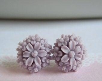 Pale Lilac Bouquet Stud Earrings, Purple Flower Summer Jewelry