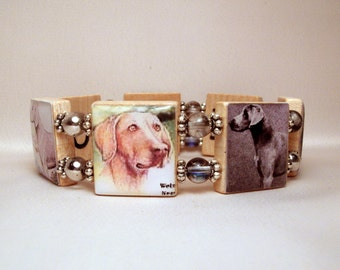 WEIMARANER Bracelet / SCRABBLE Jewelry / Dog Lover Gift / Upcycled