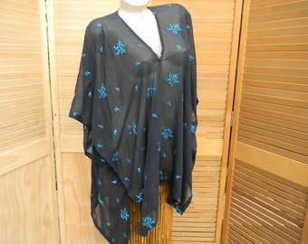 Kimono Inspired Silk Top, Jacket, Cover-up, One Size