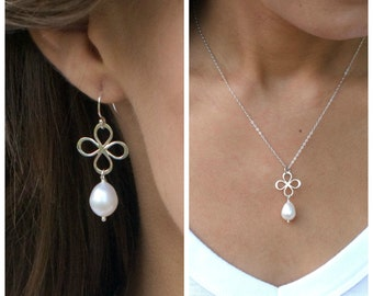 Pearl necklace & earring SET, freshwater pearl drop earrings and necklace set, clover necklace, Bridal jewelry, sterling silver