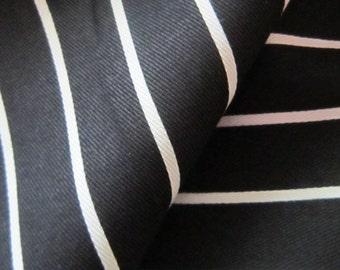 57 Inches Wide Black White Cotton Chef Butcher Block Chalk Stripe Fabric By the Yard