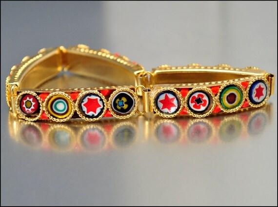 Vintage Micro Mosaic Bracelet Gold Flower Star Glass Tiles Italian Costume Jewelry