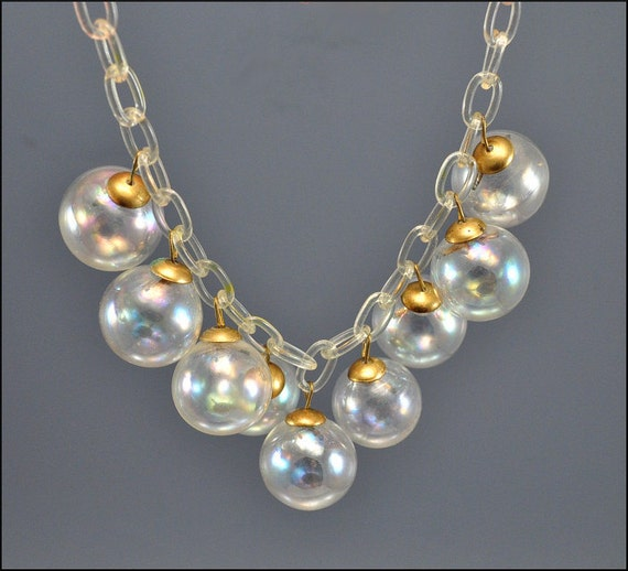 Art Deco Necklace Celluloid Glass Ball Fringe Bib Iridescent Bead Vintage 1930s Jewelry