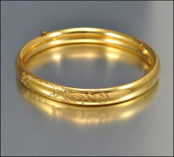 Edwardian Victorian 12K Gold Fill Bracelet Bangle Engraved Vintage 1900s Jewelry