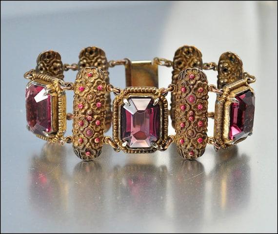 Vintage Glass Bracelet Purple Pink Enamel Gold Flower Wide Statement 1940s Vintage Jewelry