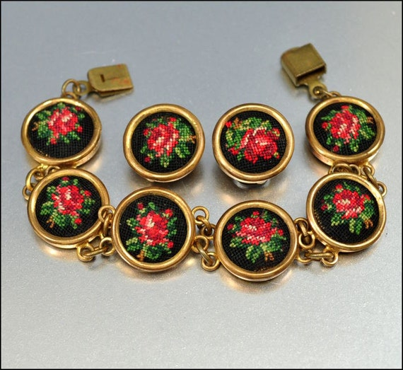 Vintage Bracelet Earrings Petit Point Gold Austria Embroidered Floral Rose Costume Jewelry 1940s