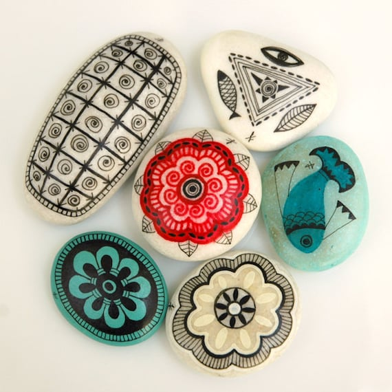 handpainted stones - sun mandalas and ancient symbols / custom listing for Emily Reay