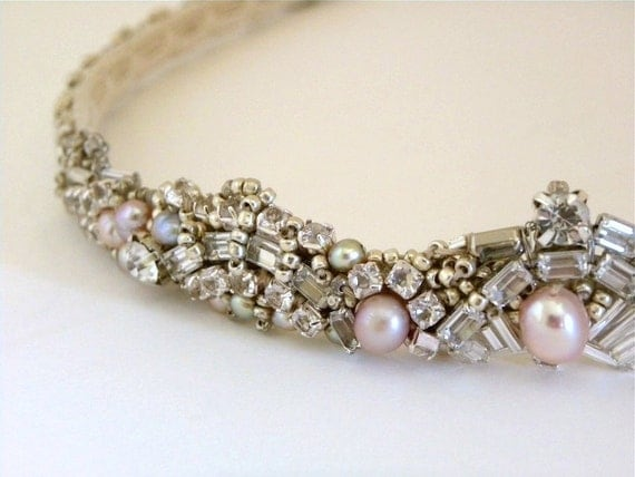 Bridal Crown, Bridal Headband, Rhinestone Wedding Headband, Hand Beaded,Crown, Pearl and Rhinestone Tiara, Handmade in USA