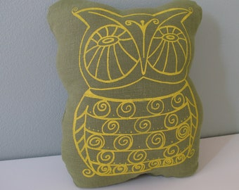 Pillow - Cushion  - Owl Stuffed Pillow by Sweetnature Designs - Choose your fabric and ink color