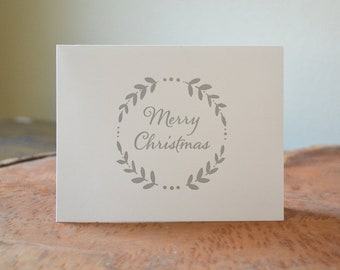 20 Merry Christmas letterpress holiday cards - set of 20 folded letterpress printed cards