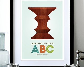 Eames poster print Mid Century Modern Herman Miller vintage furniture retro kitchen art nursery - Know Your ABC A A3