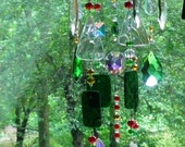 "Custom for Val, glass wind chime sun catcher stained glass, red,green brown,27"" in length"