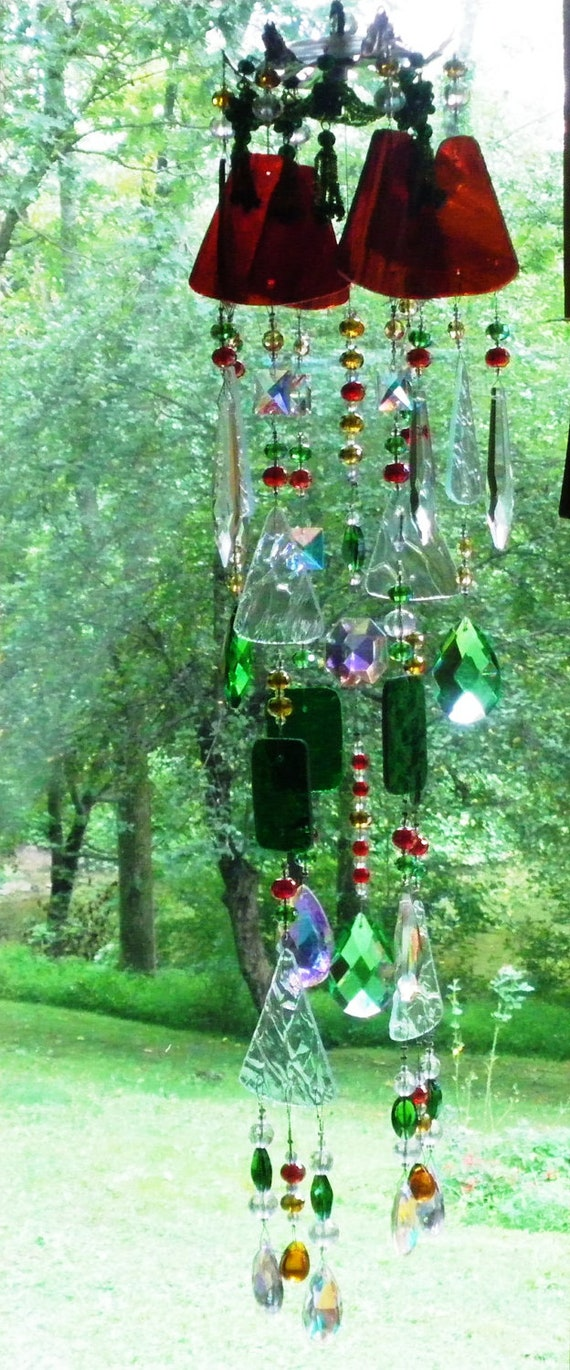 """Custom for Val, glass wind chime sun catcher stained glass, red,green brown,27"""" in length"""