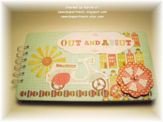 Out and About Mini Scrapbook with 10 decorated pages