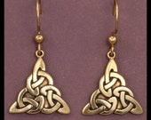 Celtic TRIQUETRA KNOT WORK- Earrings- Bronze