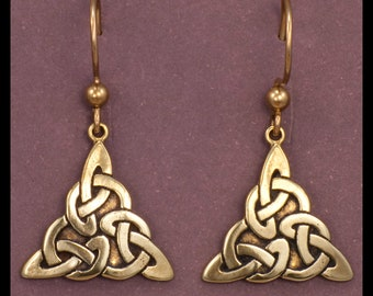 Celtic TRIQUETRA KNOT WORK- Earrings- Bronze
