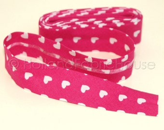 2m Bias tape, fuchsia bias tape, heart bias tape, single fold bias tape, bias binding, pink bias tape, pink binding, Cute Hearts in Lime