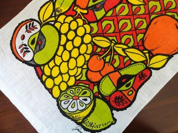 Georges Briard Vintage Towel - Op Art Fruit