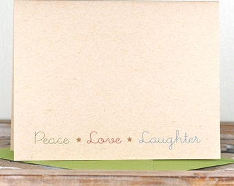 Christmas Cards / Holiday Cards / Cards Christmas / Recycled Christmas Cards / Recycled Holiday Cards - Peace, Love & Laughter