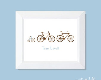 Personalized Family Print . Wall Print . Family Print . Wall Art . Bike Print . Family Art - Family of Bikes Print