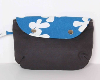 Clutch , Pouch ,Dark Gray Blue... canvas with Cream lining
