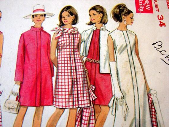 1960s Dress Pattern Vintage Coat Dress Gown Pattern Butterick Misses size 12 Wardrobe Coat Jacket Blouse Pants Short