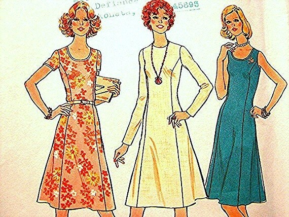 Women 1970s Dress Pattern Simplicity  Misses size 18 UNCUT Princess Seaming Sewing Pattern