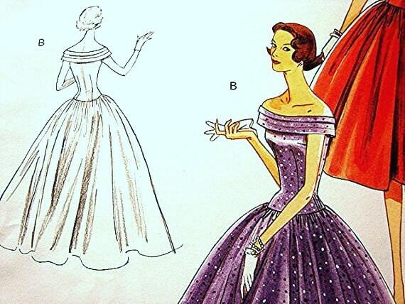Retro Vintage Model Vogue Dress Pattern 1950's Misses Gown Evening Dress Pattern 50s size 6 8 10 12 UNCUT