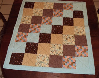 Chocolate and Blue Baby Quilt