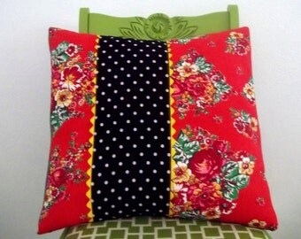 Decorative Throw Pillow Cover, Red Rose Floral, Black and White Polka Dots 18 x 18