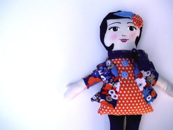 SALE Cloth Doll Handpainted Face, Black Hair