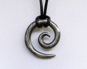 Koru Tribal Pendant in aged silver