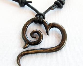 Antique Bronze Tribal Heart Pendant