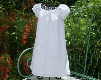 Handmade Flower girl, Baptism, Beach photos girls lined white dress  Size newborn. 6 mon.  1,2,3,4,5 and 6