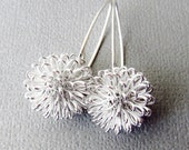 Silver Earrings, Dhalia Wire Ball on Sterling Silver Long Earwires - Flower Earrings, Modern Jewelery