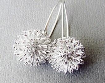 Silver Earrings, Dhalia Wire Ball on Sterling Silver Long Earwires - Flower Earrings, Modern Jewelery