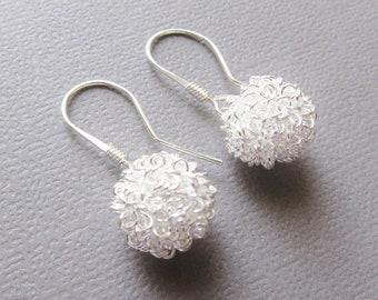 Snowball Earrings - Silver Wire Ball Earrings, Sterling Silver Earwires- Short Dangle - Leightweight