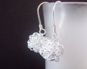 Dandelion Earrings, Silver Earrings, Silver ball earrings, Modern Jewelry, Tangled ball earrings, handmade by CuteJewels