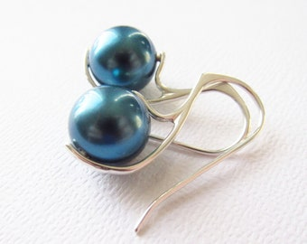 Teal Tahitian Water Pearl Earrings South Sea Sterling Silver 925 - Aqua Blue, Modern Simple Design by Cute Jewels