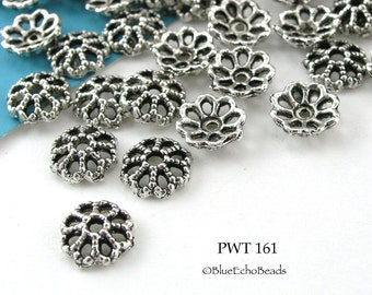 7mm Pewter Lace Bead Caps, Antique Silver (PWT 161) 36 pcs BlueEchoBeads