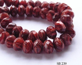 Czech Glass Beads Faceted Fire Polished Rondelle 9mm Red (SB 239) 12 pcs